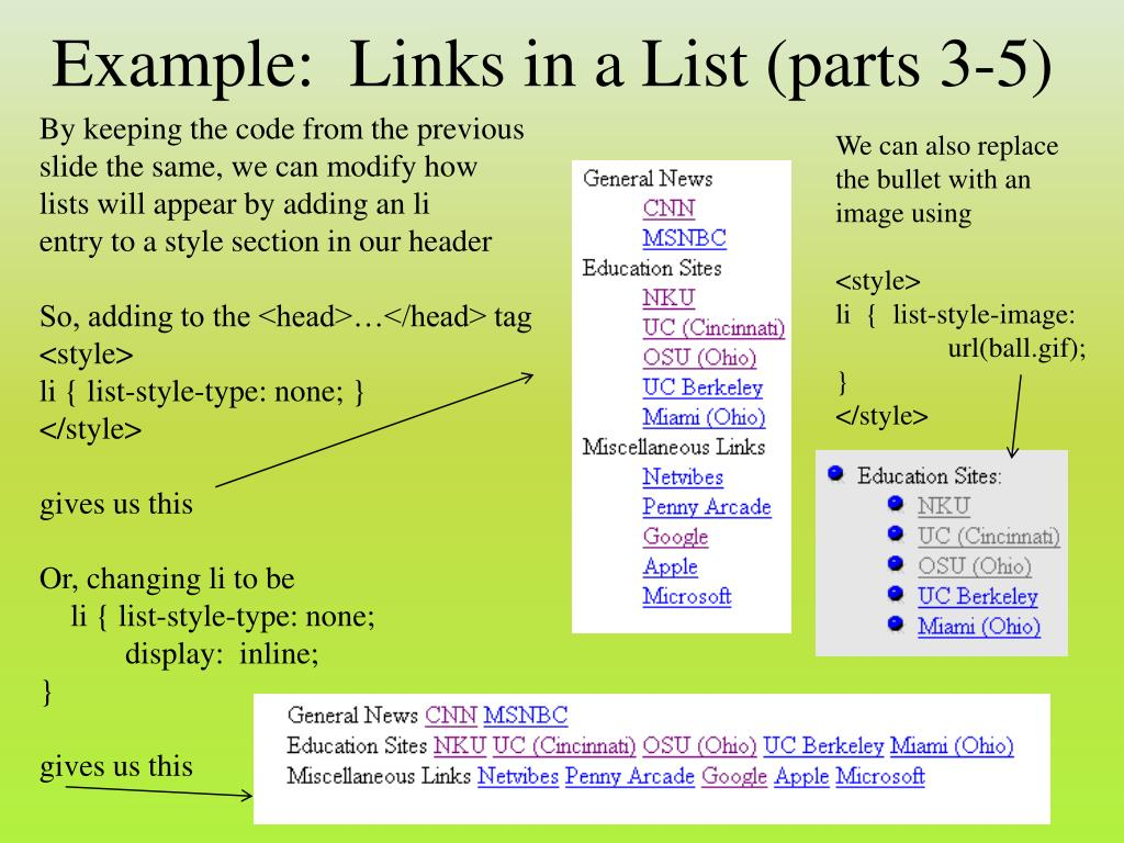 Example:  Links in a List (parts 3-5)