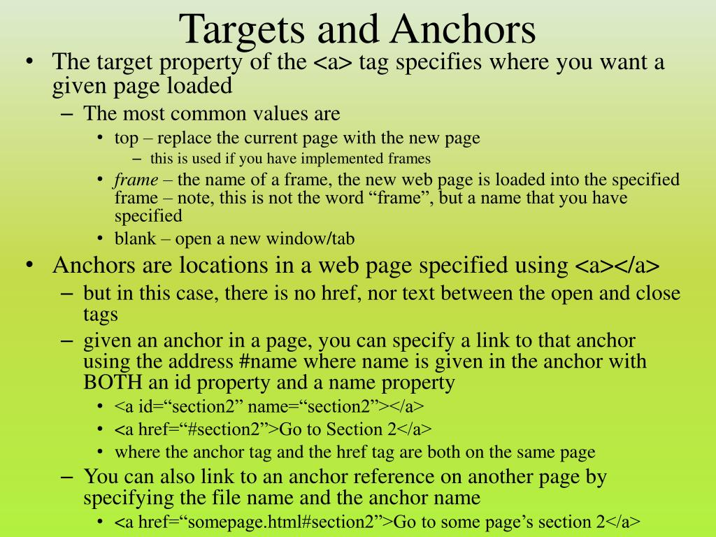 Targets and Anchors