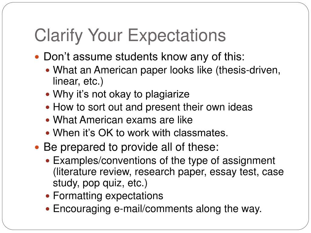 Clarify Your Expectations