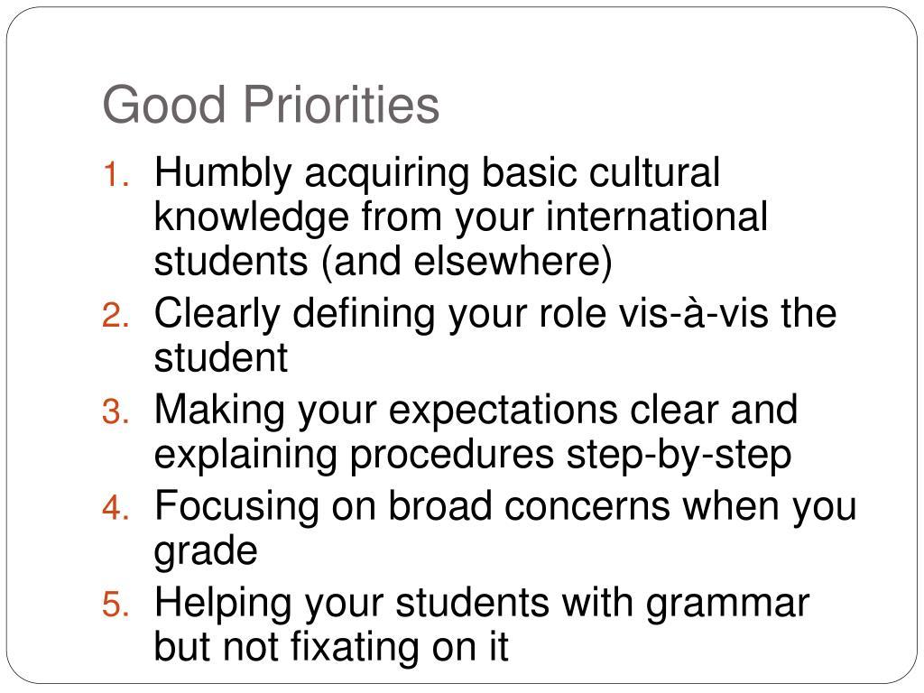 Good Priorities