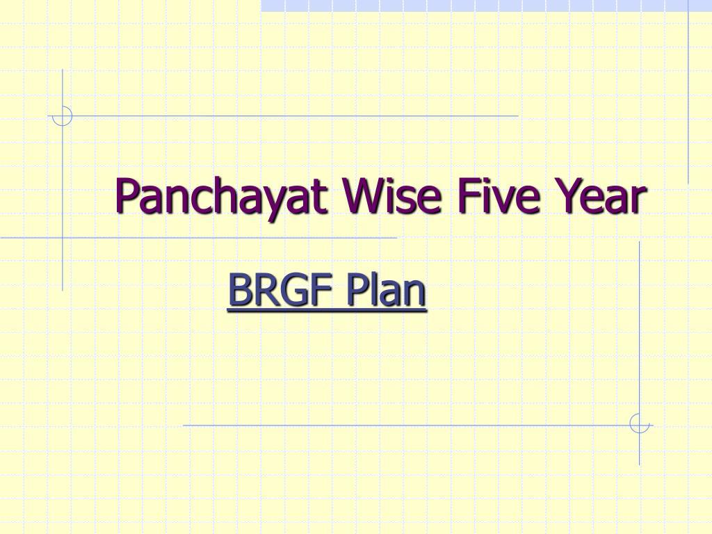 Panchayat Wise Five Year