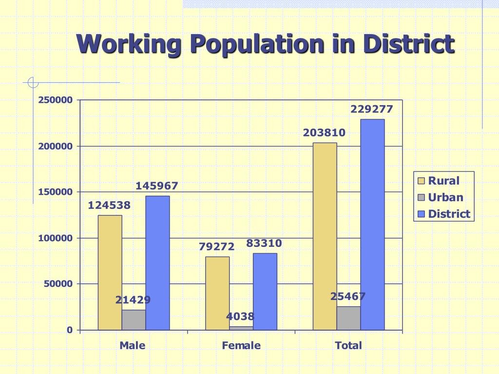 Working Population in District