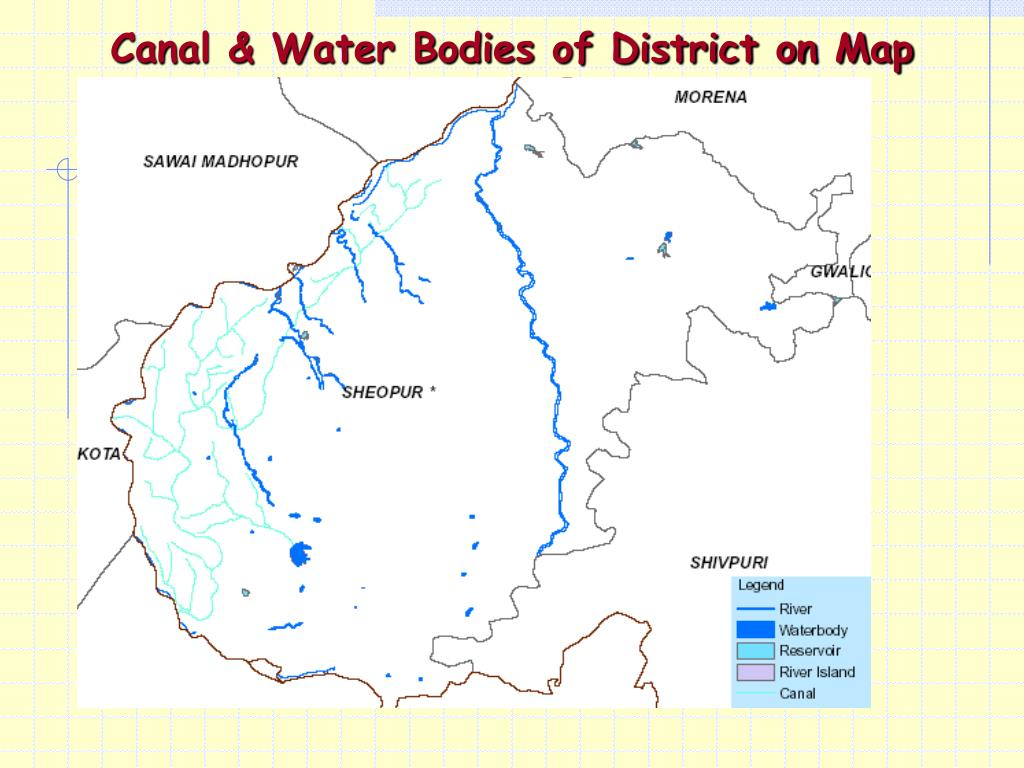 Canal & Water Bodies of District on Map
