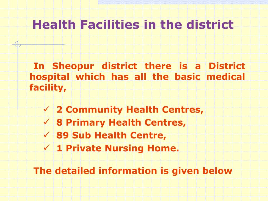 In Sheopur district there is a District hospital which has all the basic medical facility,
