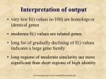interpretation of output