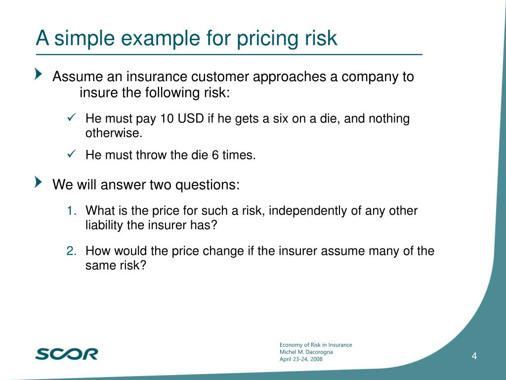 A simple example for pricing risk