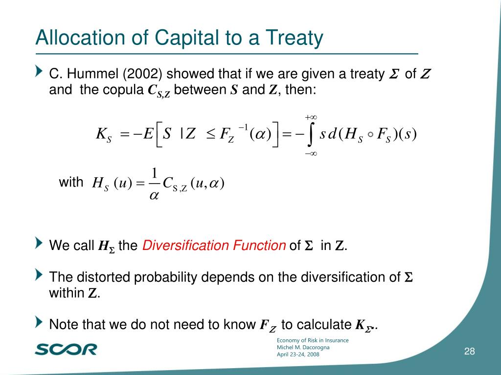 Allocation of Capital to a Treaty