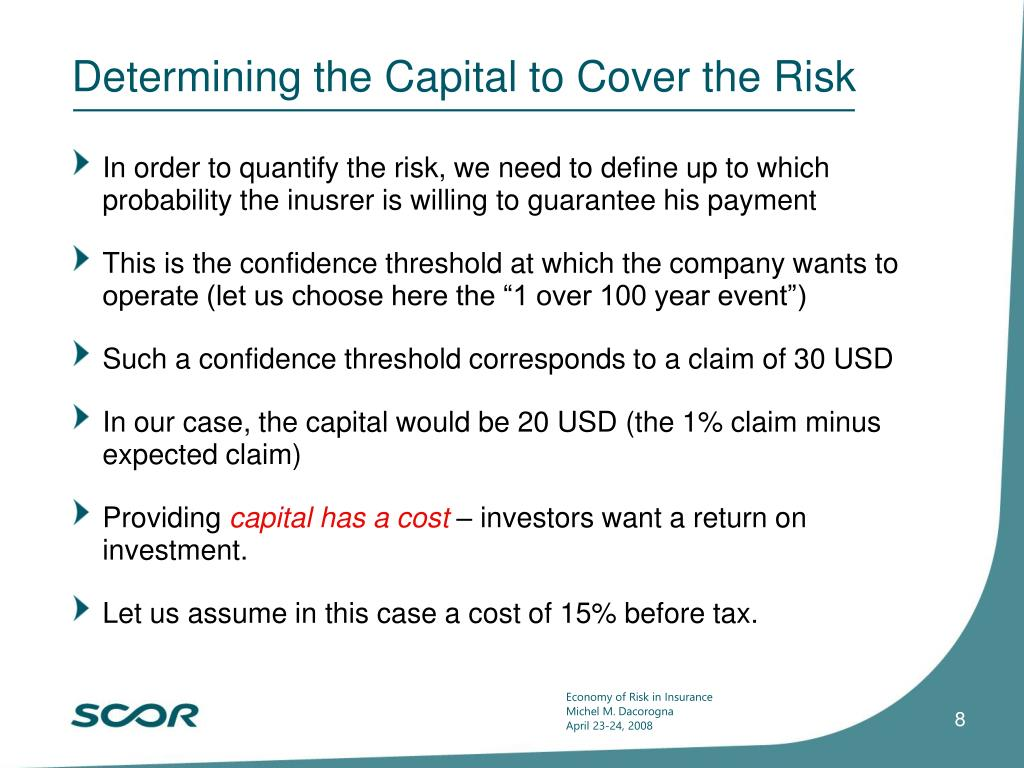 Determining the Capital to Cover the Risk