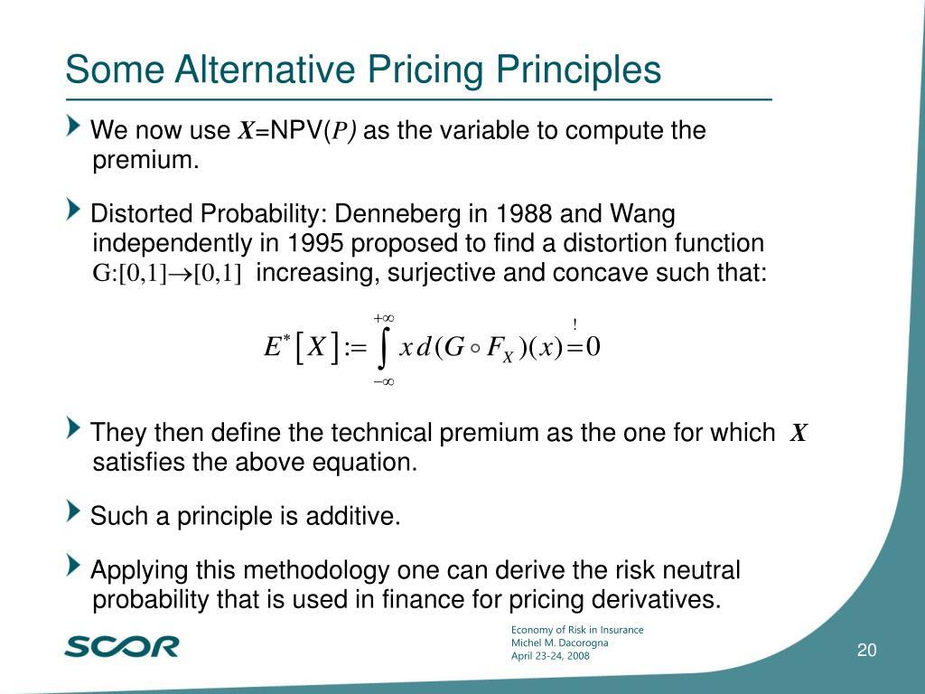 Some Alternative Pricing Principles