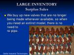 large inventory surplus sales