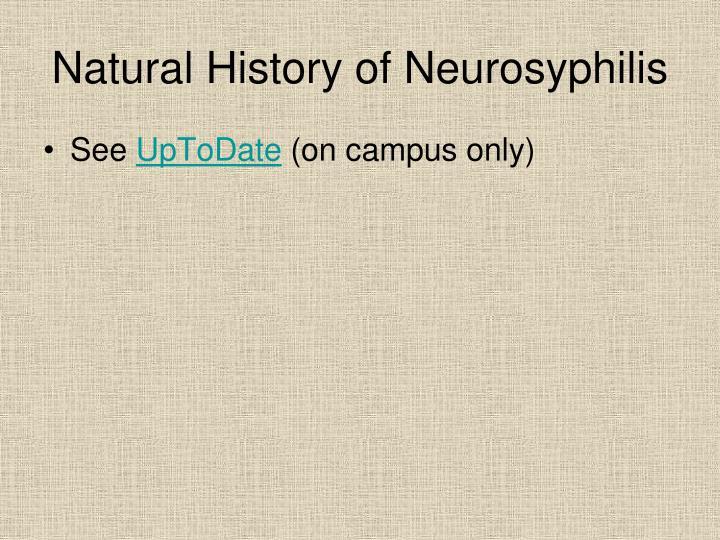 Natural History of Neurosyphilis