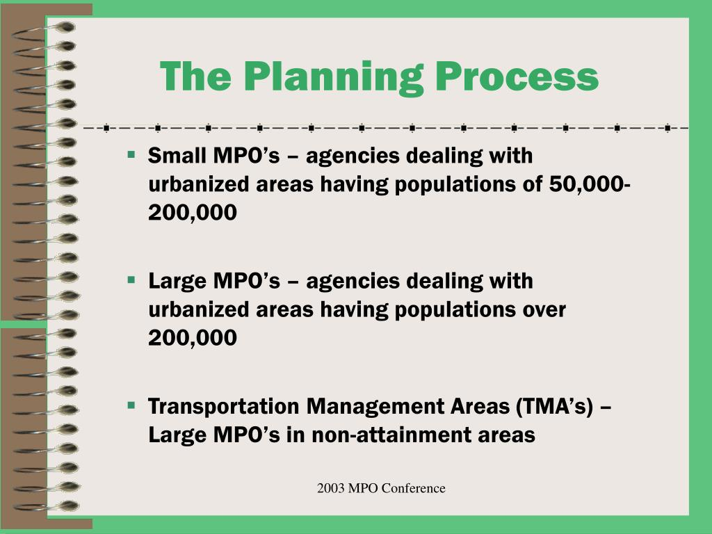 Small MPO's – agencies dealing with urbanized areas having populations of 50,000-200,000