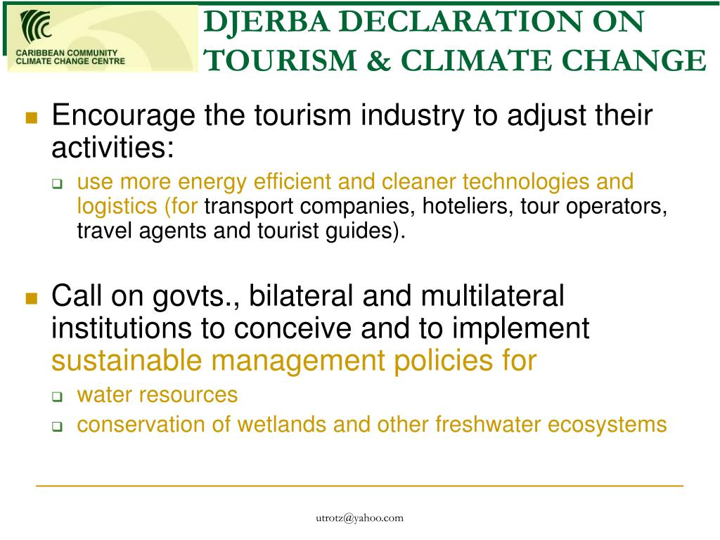DJERBA DECLARATION ON TOURISM & CLIMATE CHANGE
