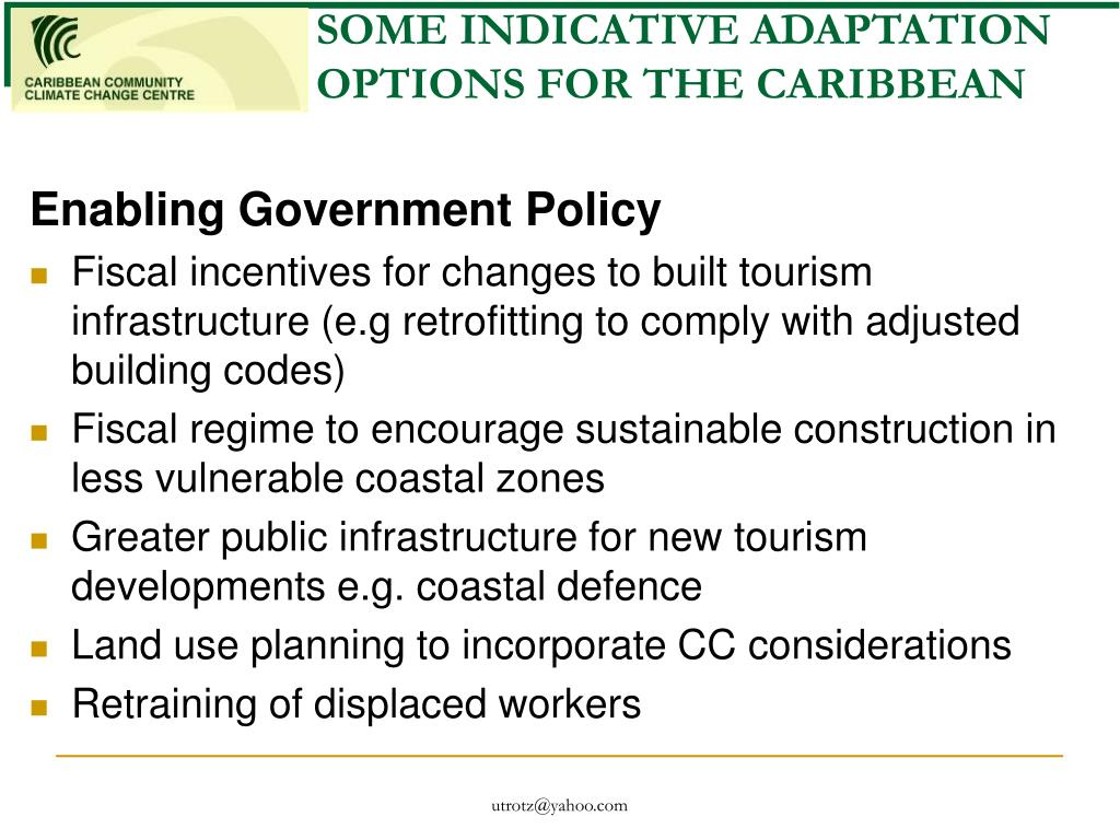 SOME INDICATIVE ADAPTATION OPTIONS FOR THE CARIBBEAN