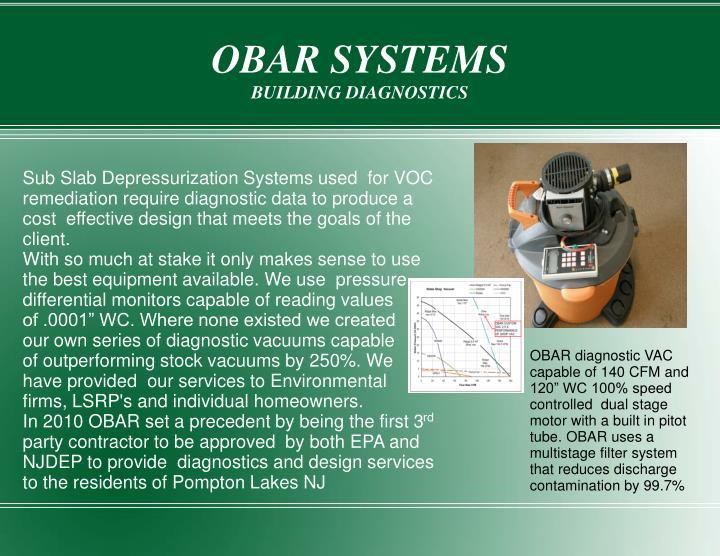 Obar systems building diagnostics