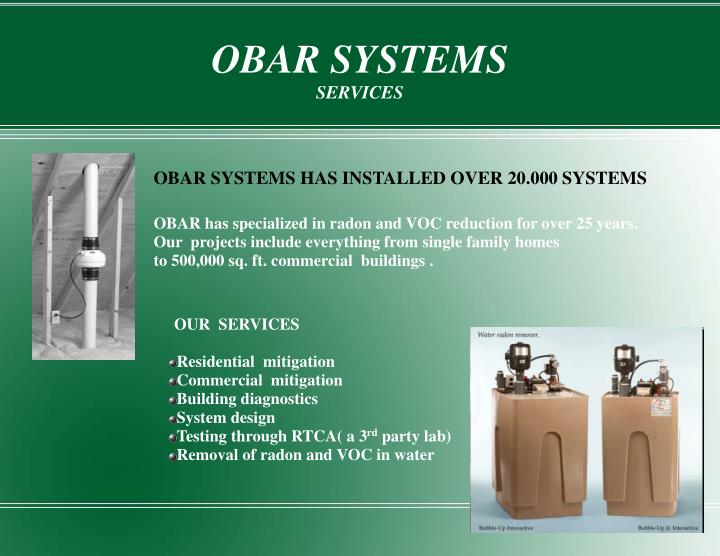 Obar systems services