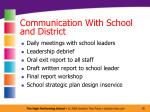 communication with school and district