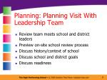 planning planning visit with leadership team