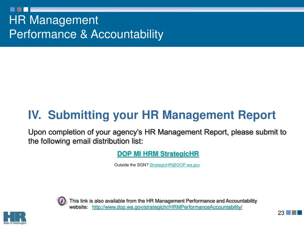 IV.  Submitting your HR Management Report