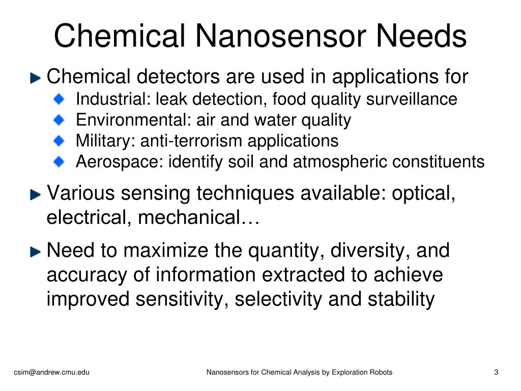 Chemical Nanosensor Needs