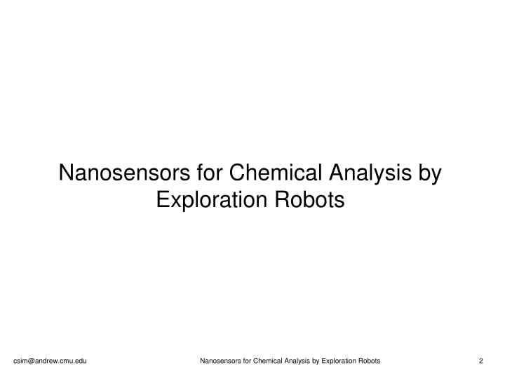 Nanosensors for chemical analysis by exploration robots