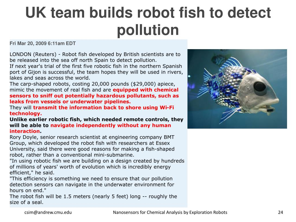 UK team builds robot fish to detect pollution