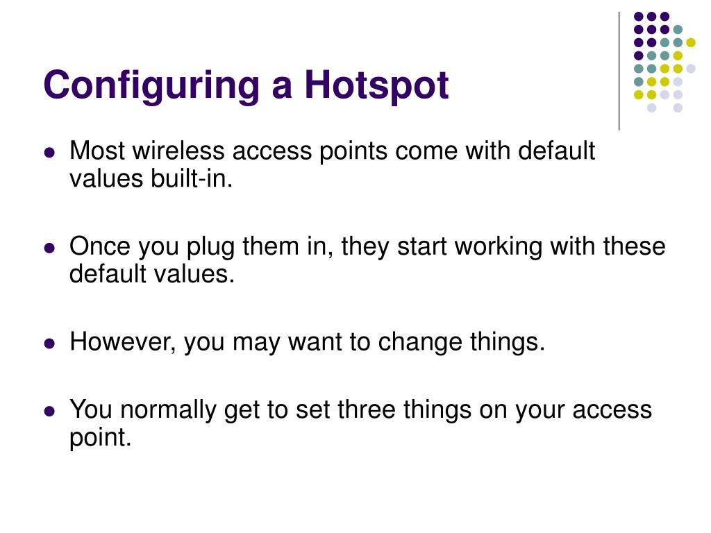 Configuring a Hotspot