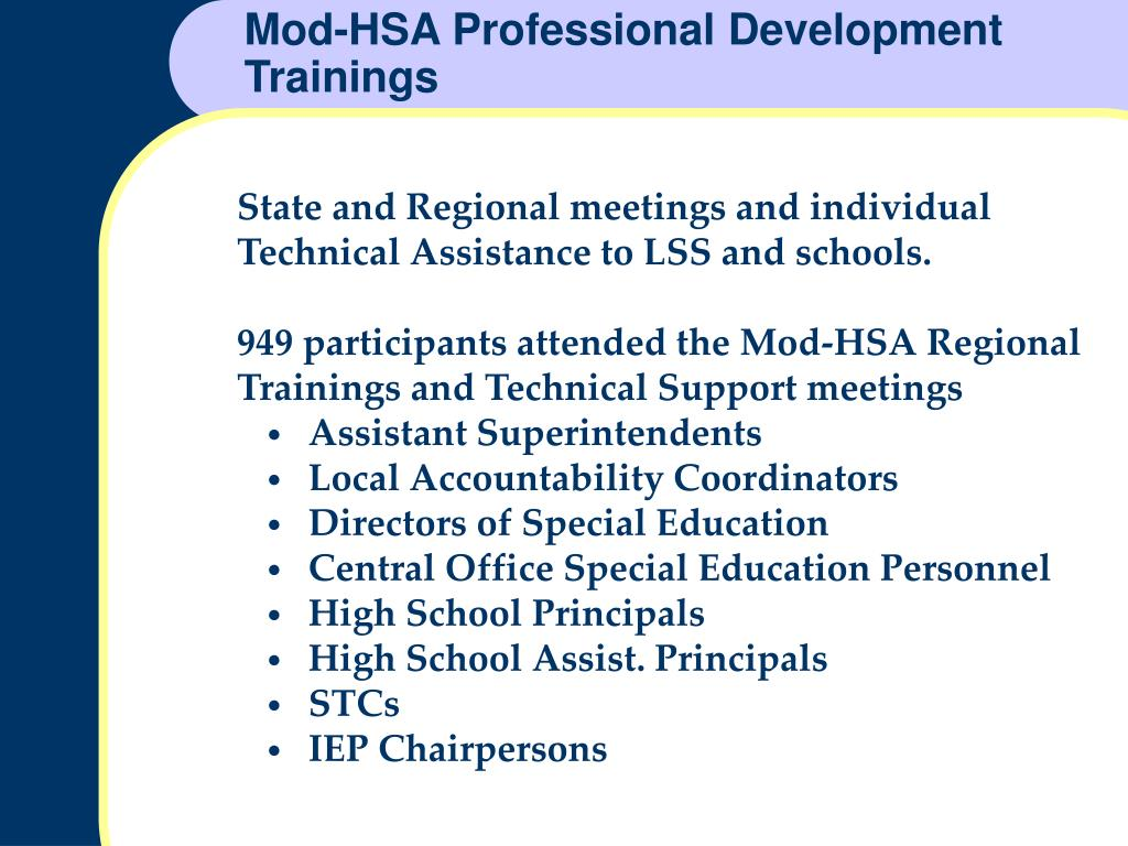 Mod-HSA Professional Development Trainings
