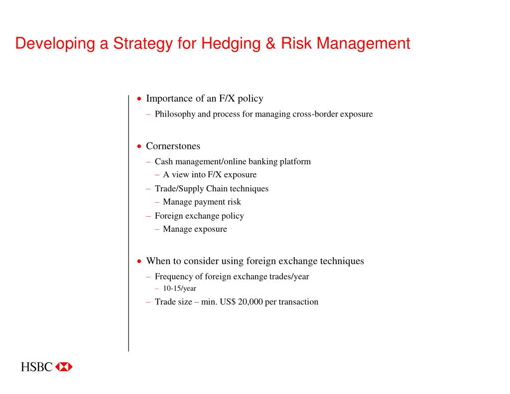 Developing a Strategy for Hedging & Risk Management