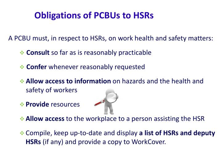 Obligations of PCBUs to HSRs