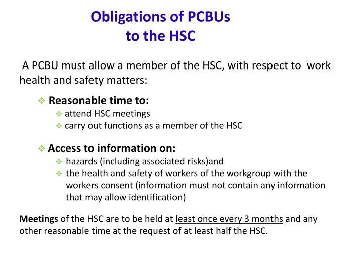 Obligations of PCBUs