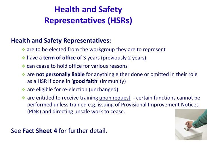 Health and Safety Representatives (HSRs)