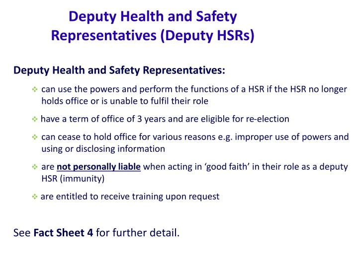 Deputy Health and Safety Representatives (Deputy HSRs)