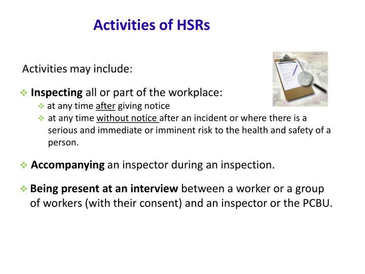 Activities of HSRs