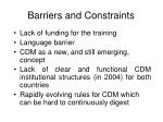 barriers and constraints