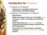 introduction for proposal