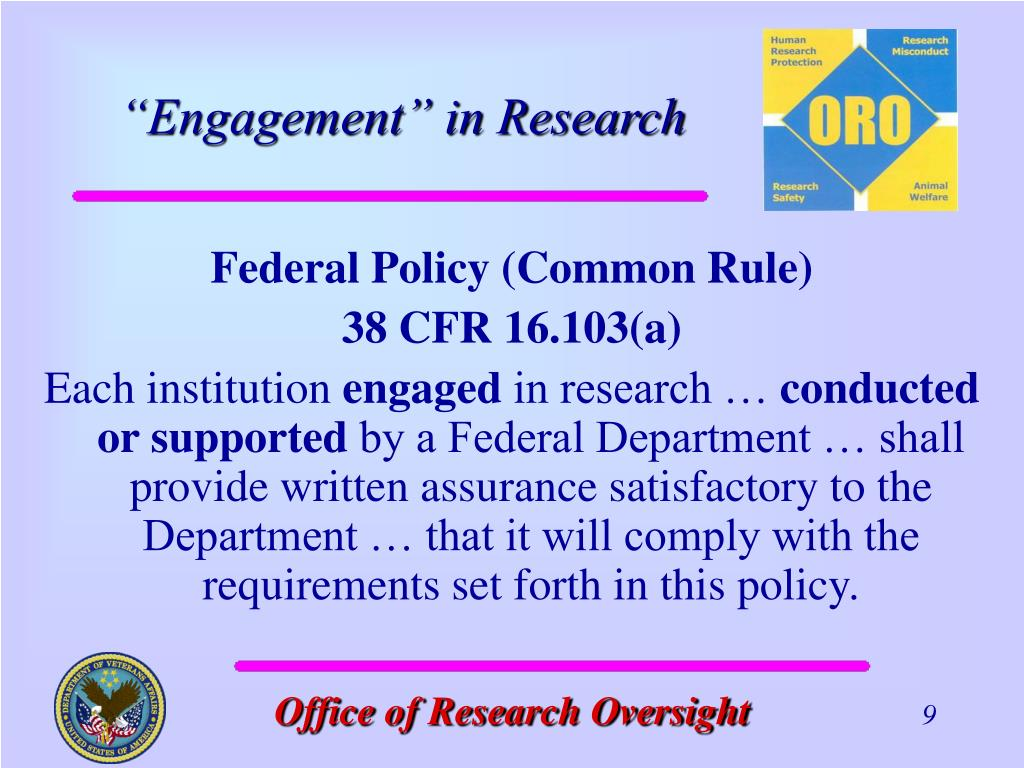 Federal Policy (Common Rule)