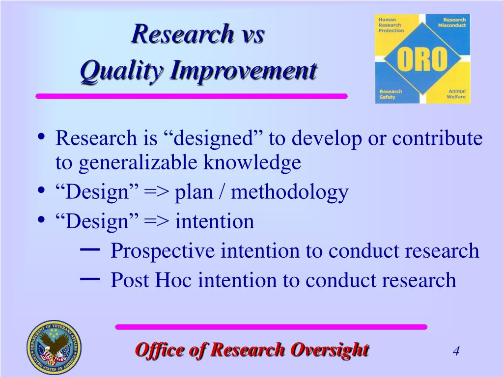 """Research is """"designed"""" to develop or contribute to generalizable knowledge"""