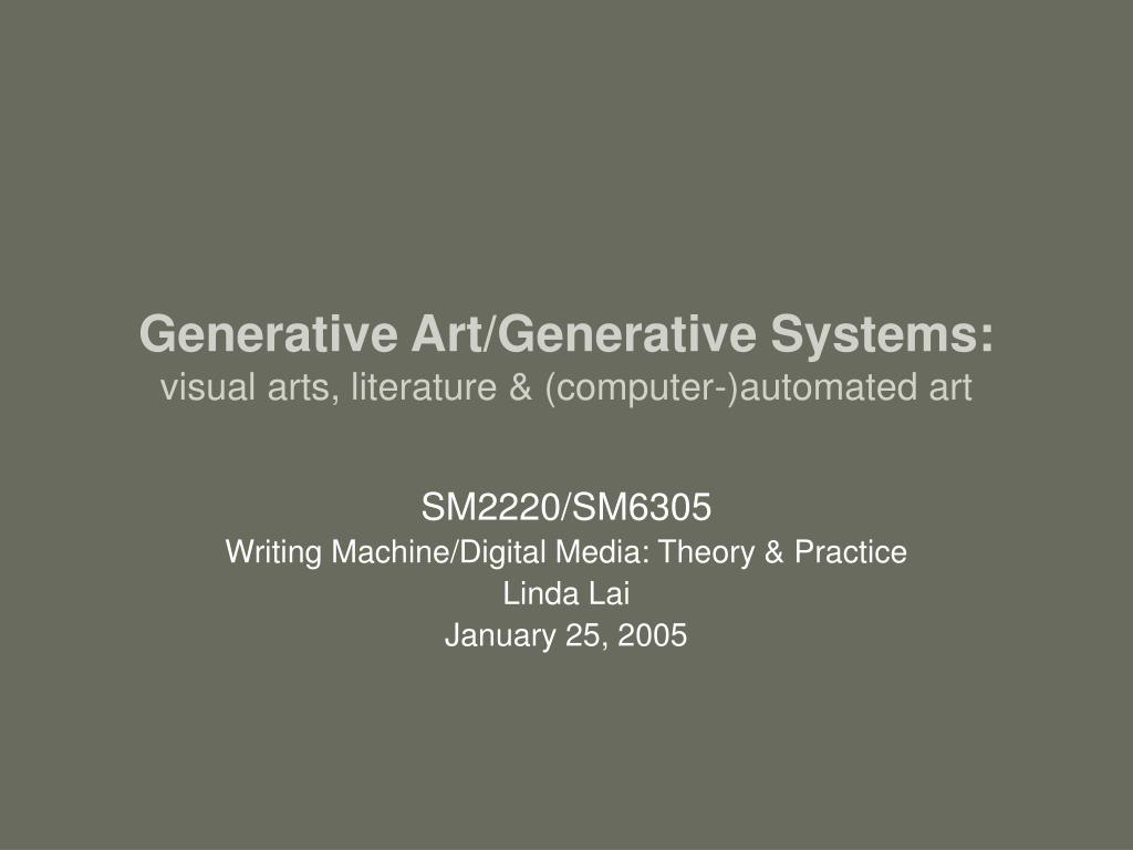 generative art generative systems visual arts literature computer automated art l.
