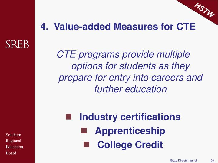 4.  Value-added Measures for CTE