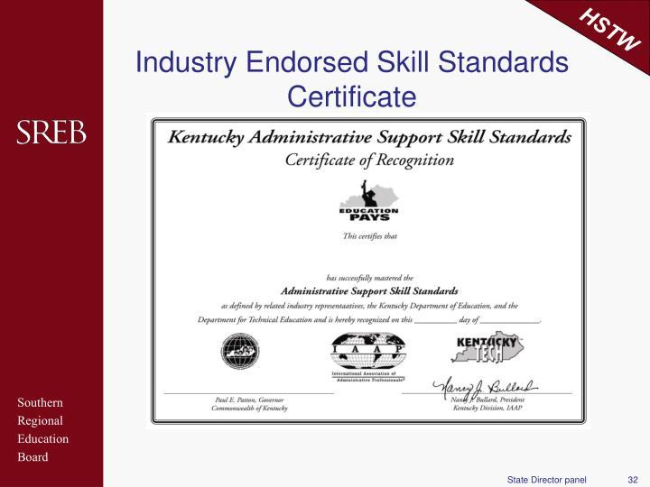Industry Endorsed Skill Standards Certificate
