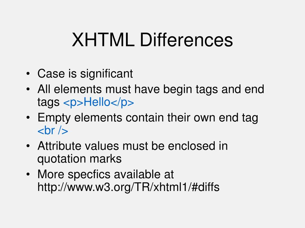 XHTML Differences