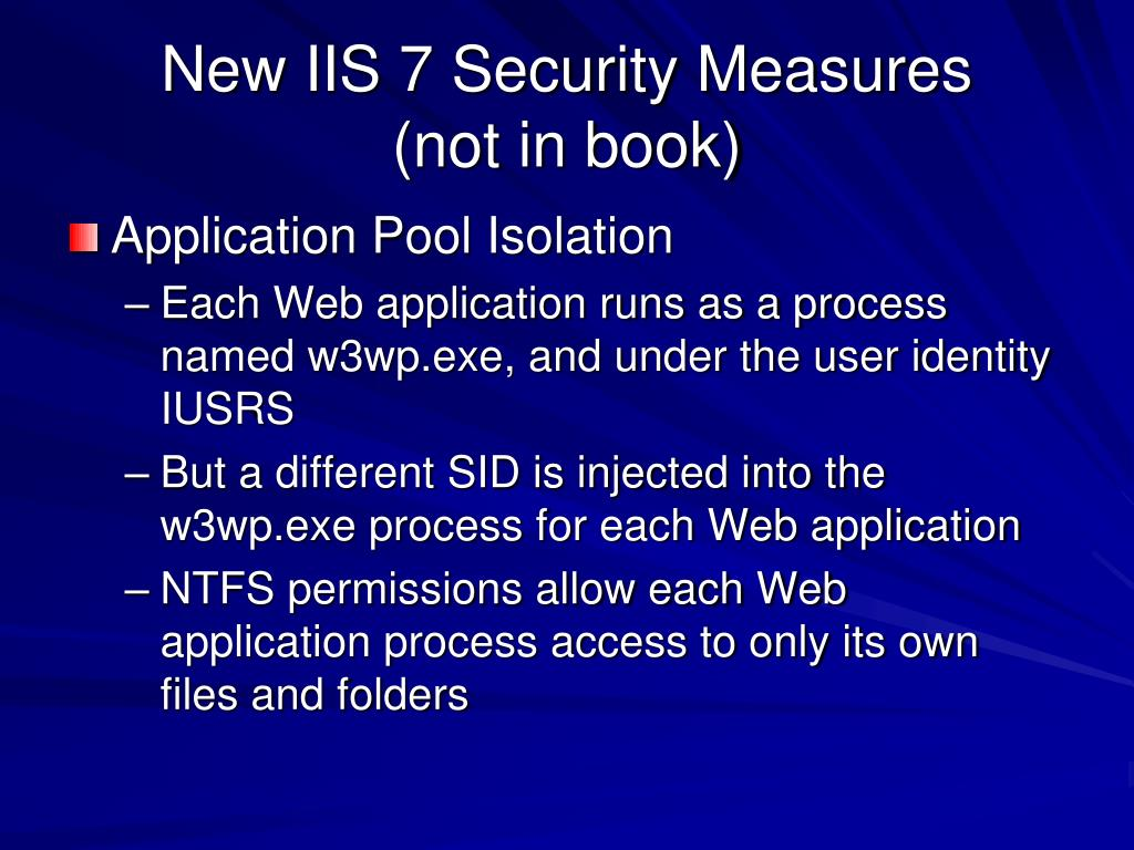 New IIS 7 Security Measures