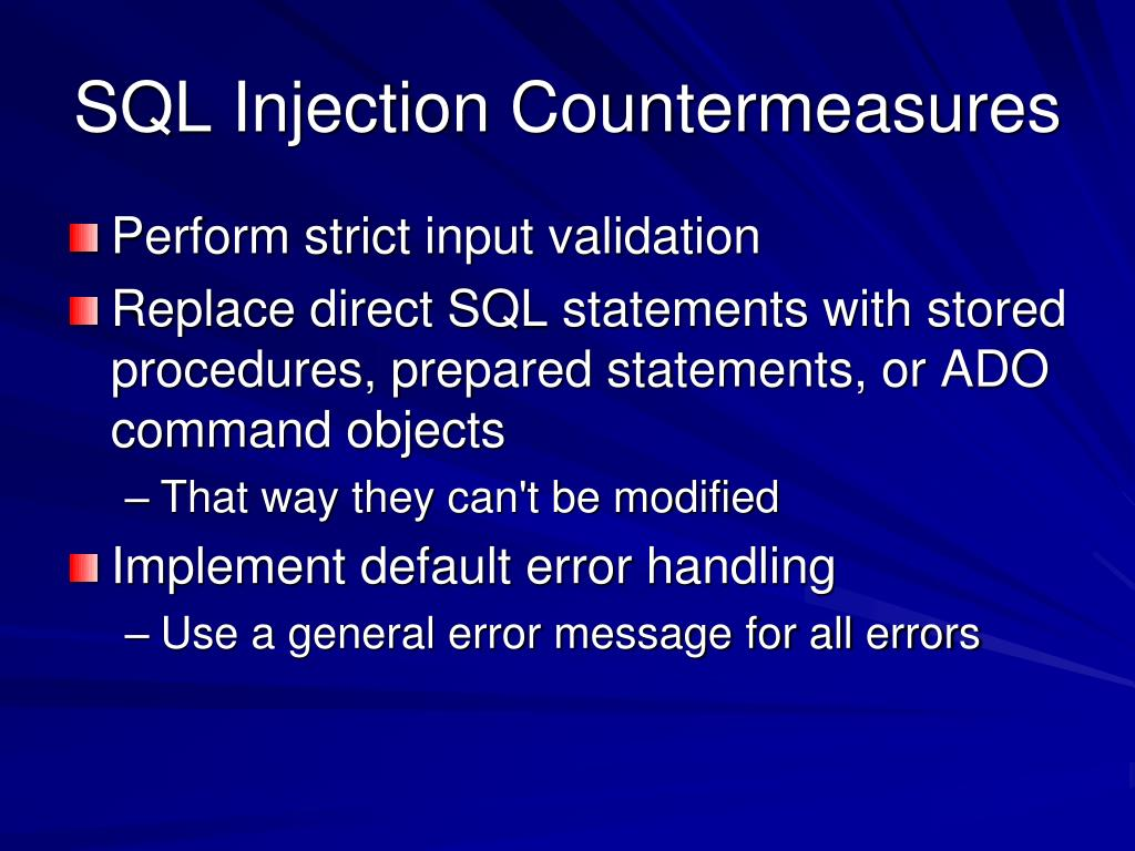 SQL Injection Countermeasures