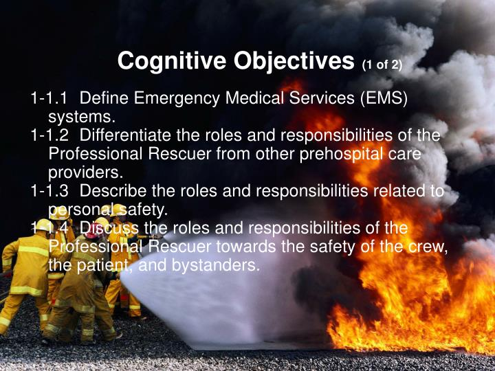 Cognitive objectives 1 of 2