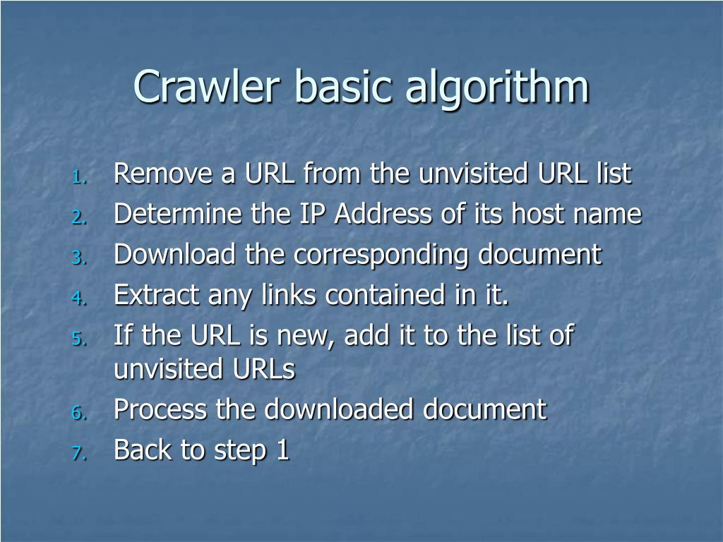 Crawler basic algorithm