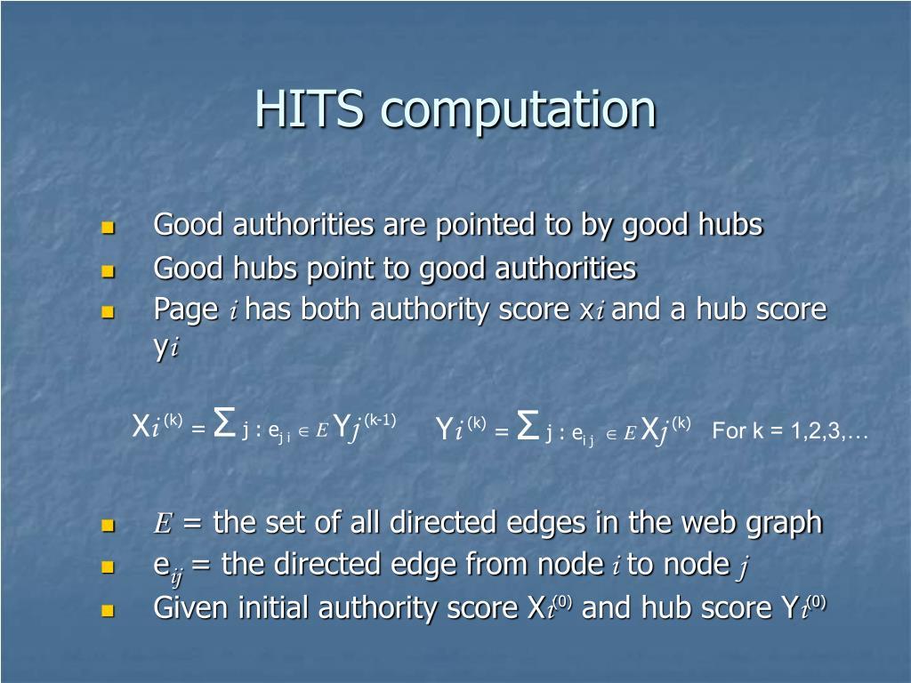 HITS computation
