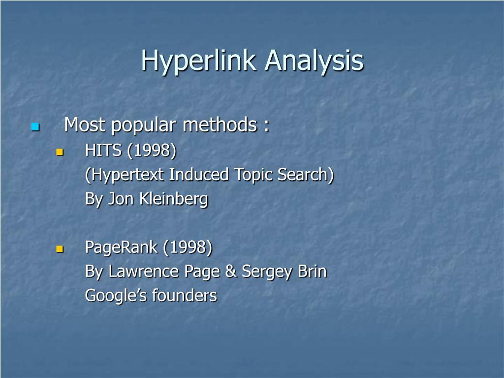 Hyperlink Analysis