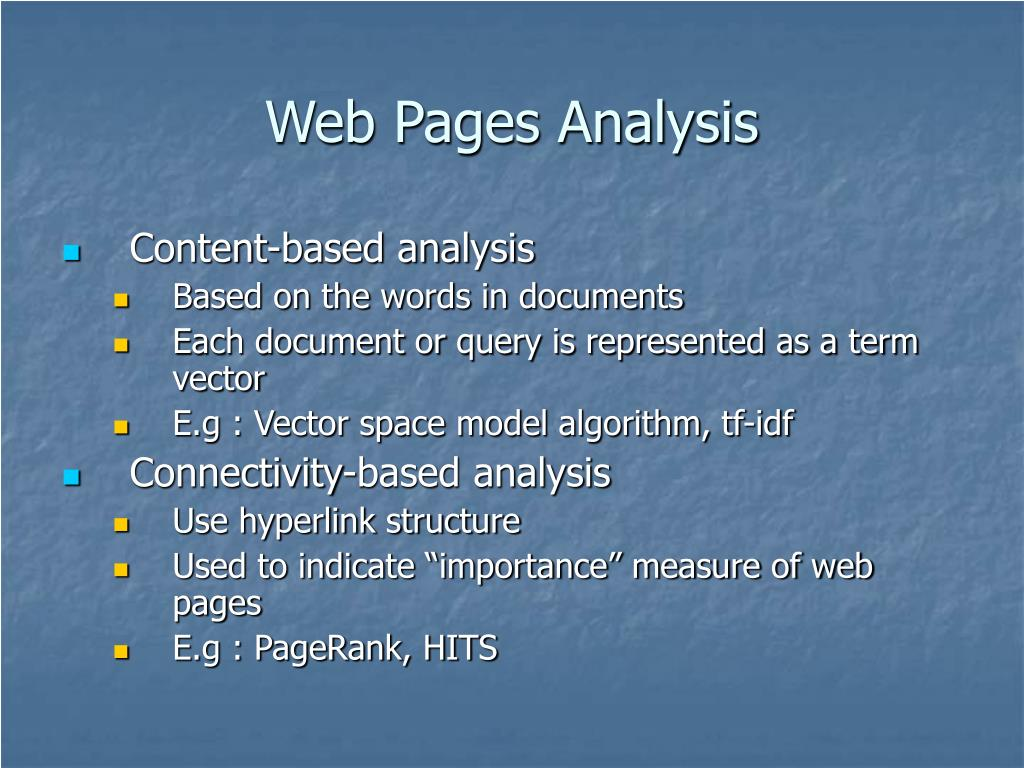 Web Pages Analysis
