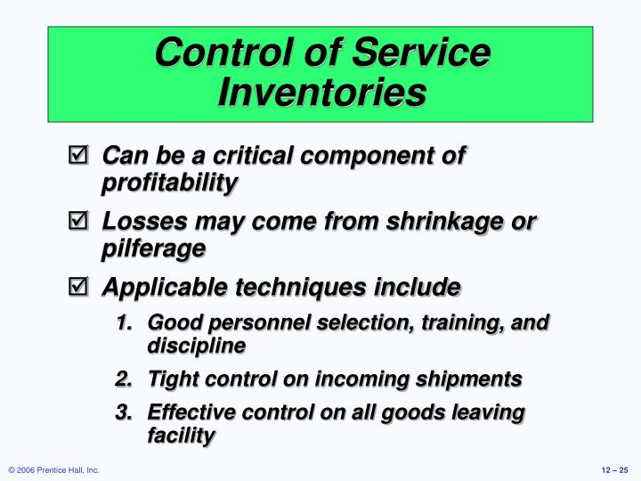 Control of Service Inventories